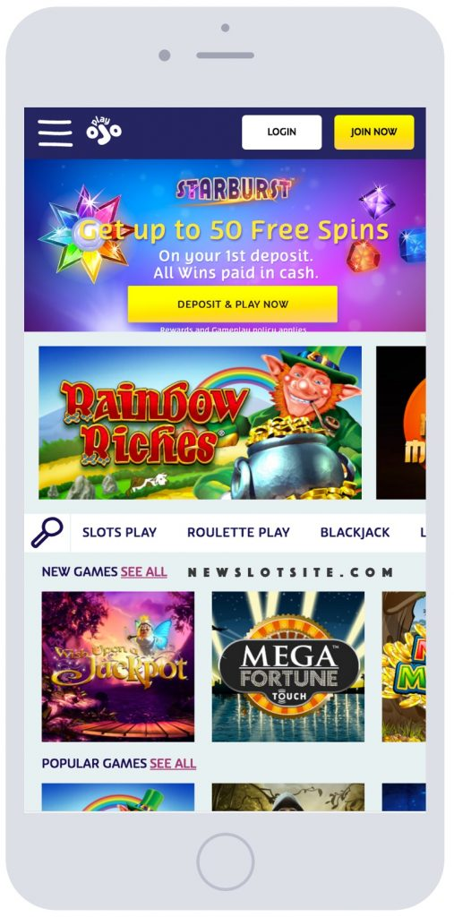 PlayOjo Mobile 507x1024 - PlayOjo Casino